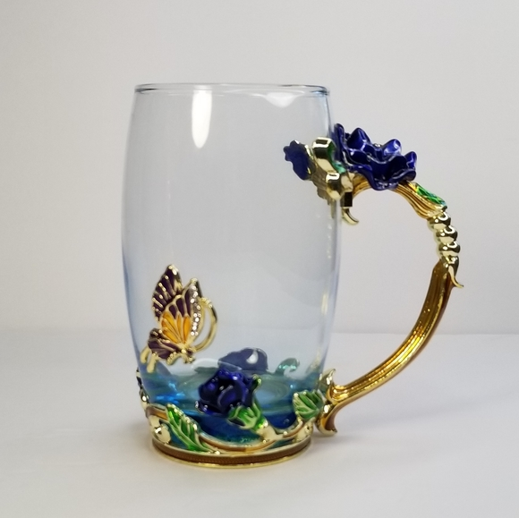 ARC OF FRANCE ORNATE GLASS COFFEE TEA MUG